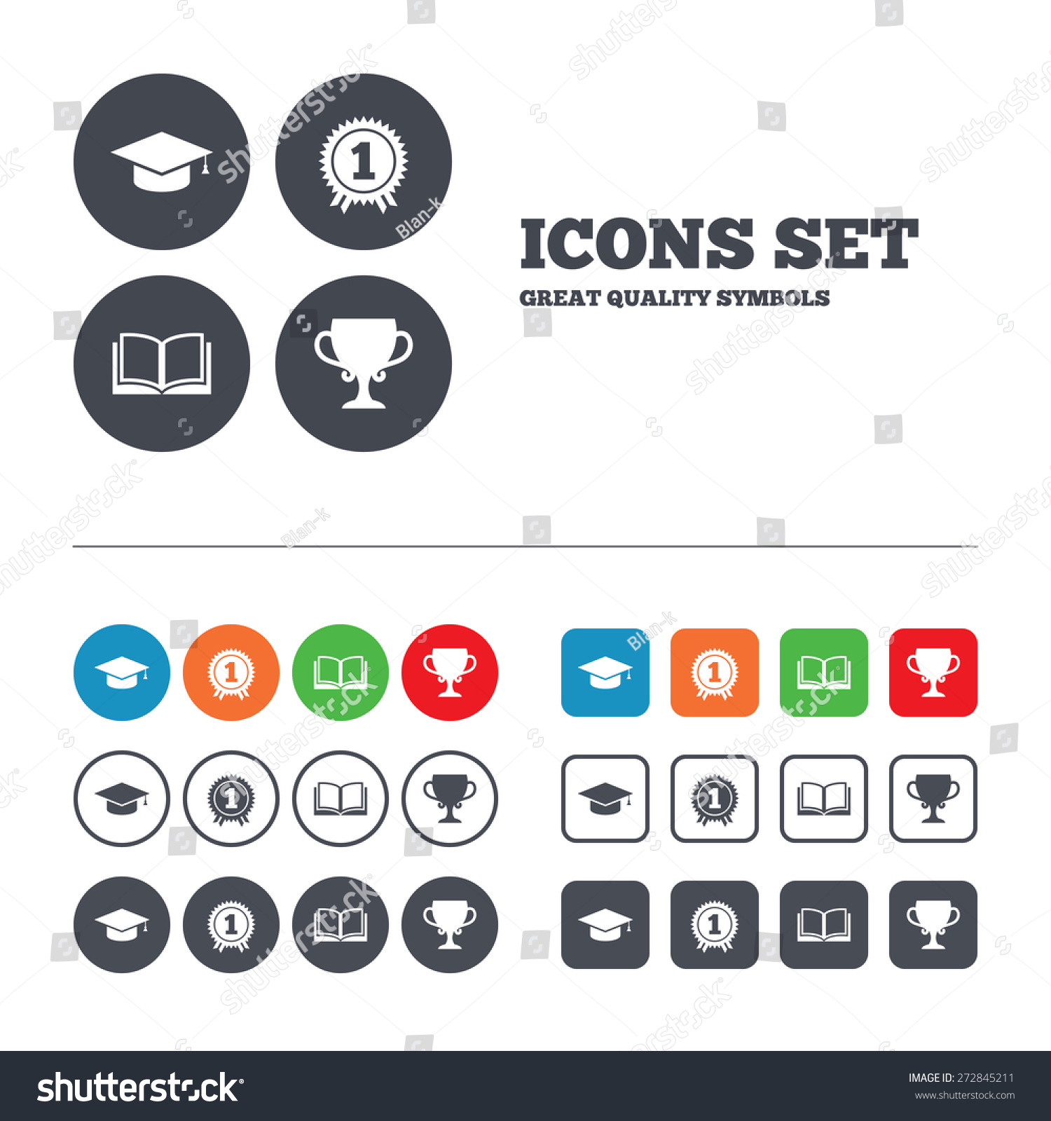 Graduation Icons Graduation Student Cap Sign Vector – First Place Award Template