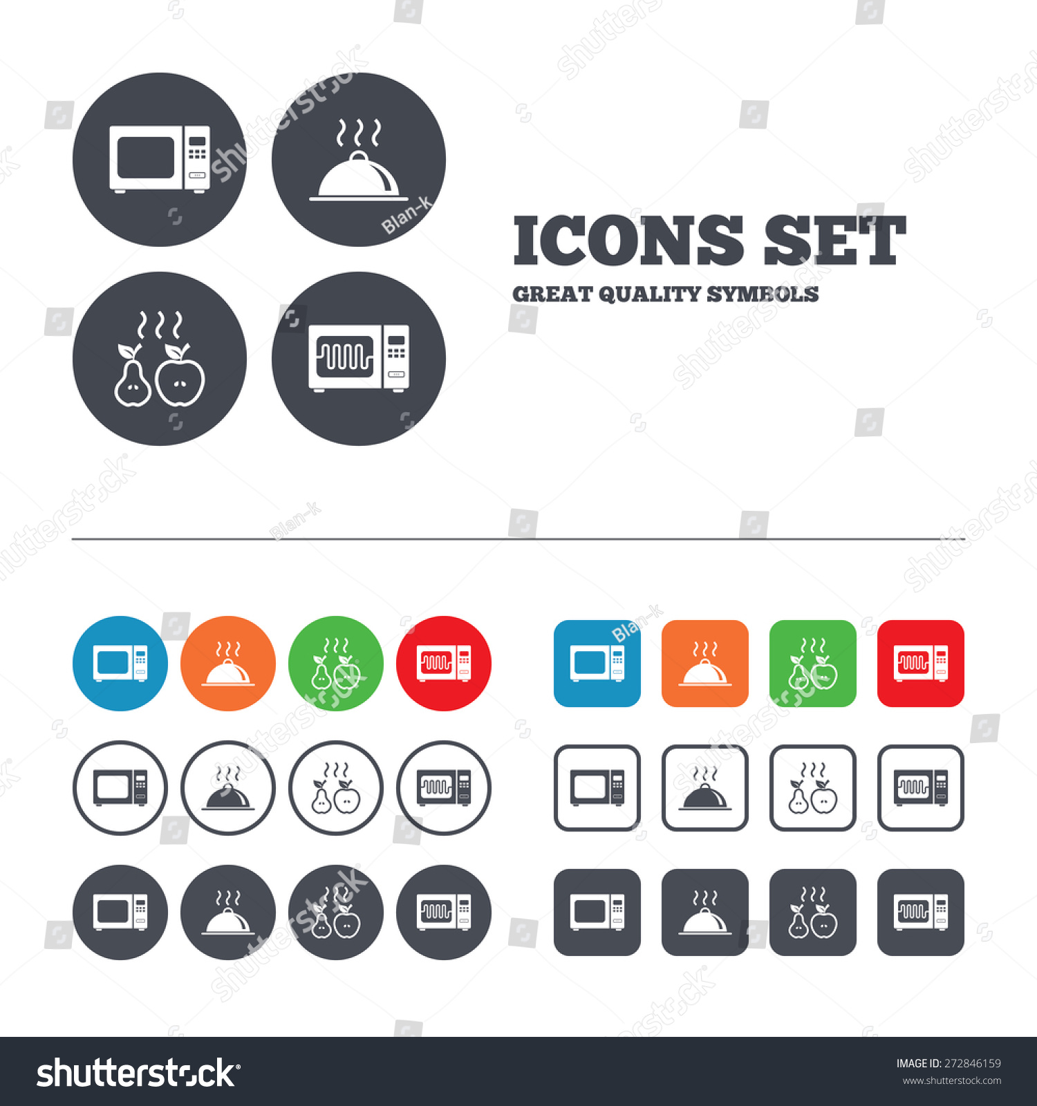 Microwave Grill Oven Icons Cooking Apple Stock Vector Royalty Free