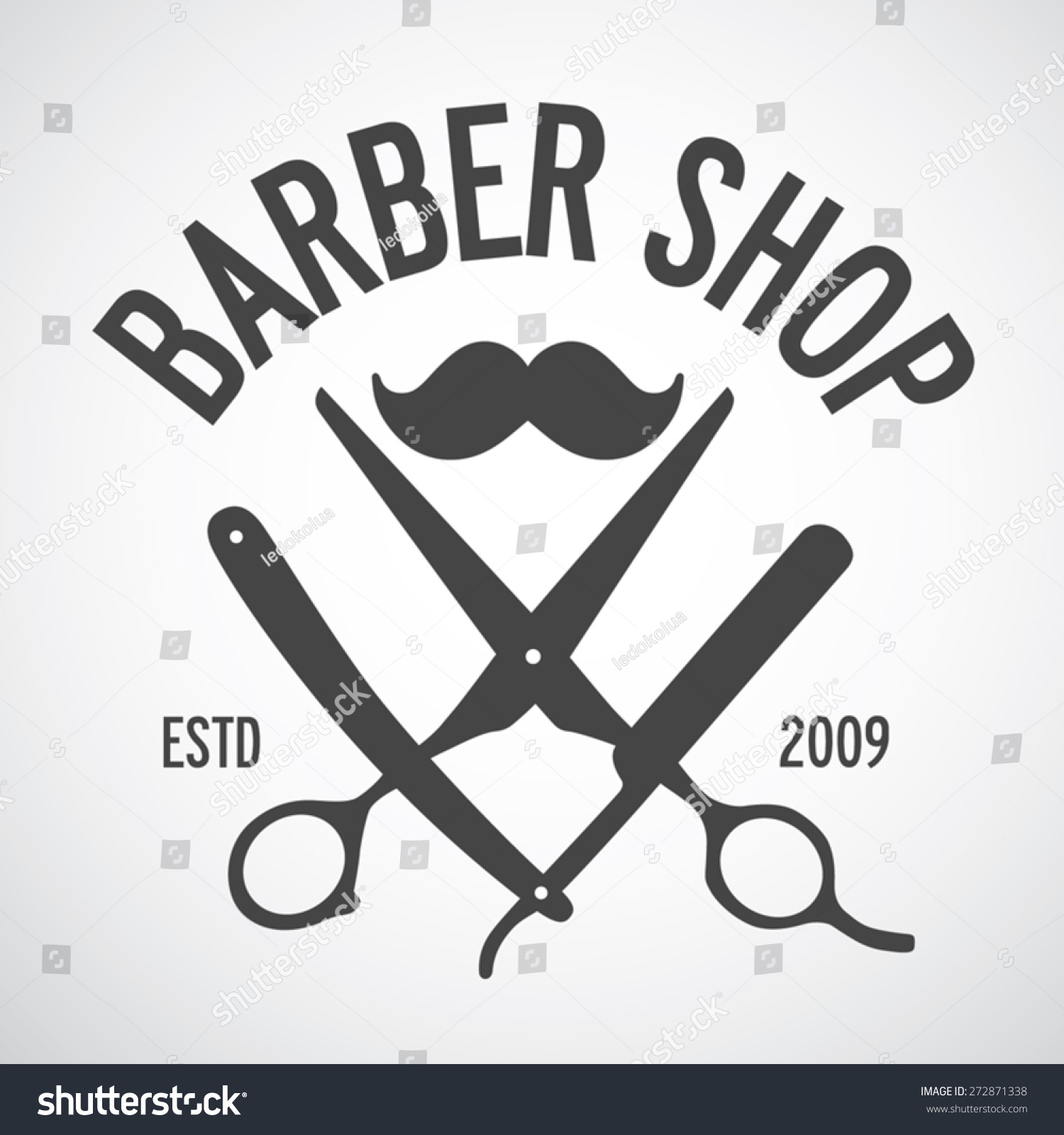 Vintage Barber Shop Logo Template, Design Elements Stock