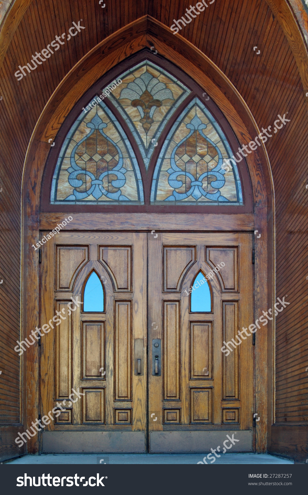 Set of gothic wooden church doors with stained glass windows & Set Gothic Wooden Church Doors Stained Stock Photo 27287257 ... Pezcame.Com