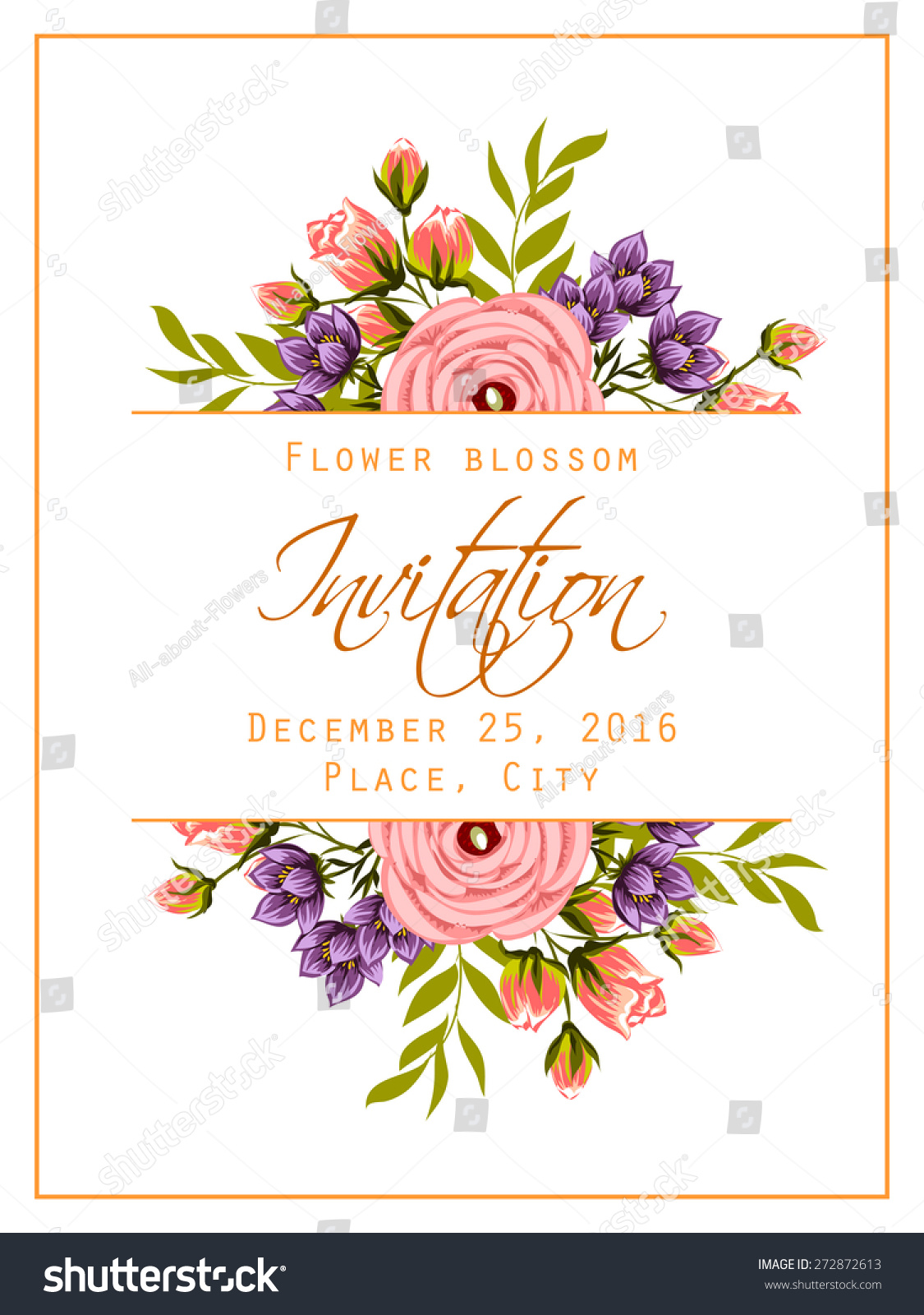Flower Blossom Romantic Botanical Invitation Greeting Card With