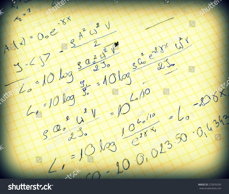 Advanced Physics Maths Notes Handwriting Stock Photo (Edit