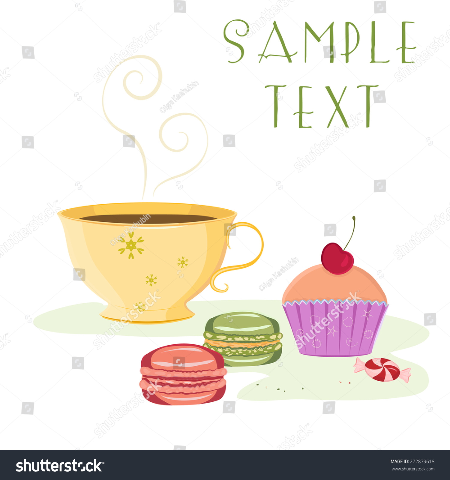 Vector Card Template Cup Hot Beverage Stock Vector