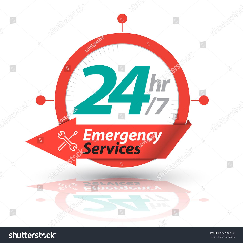 Arrow Circle Service 24h Icon Badge Stock Vector 272880980