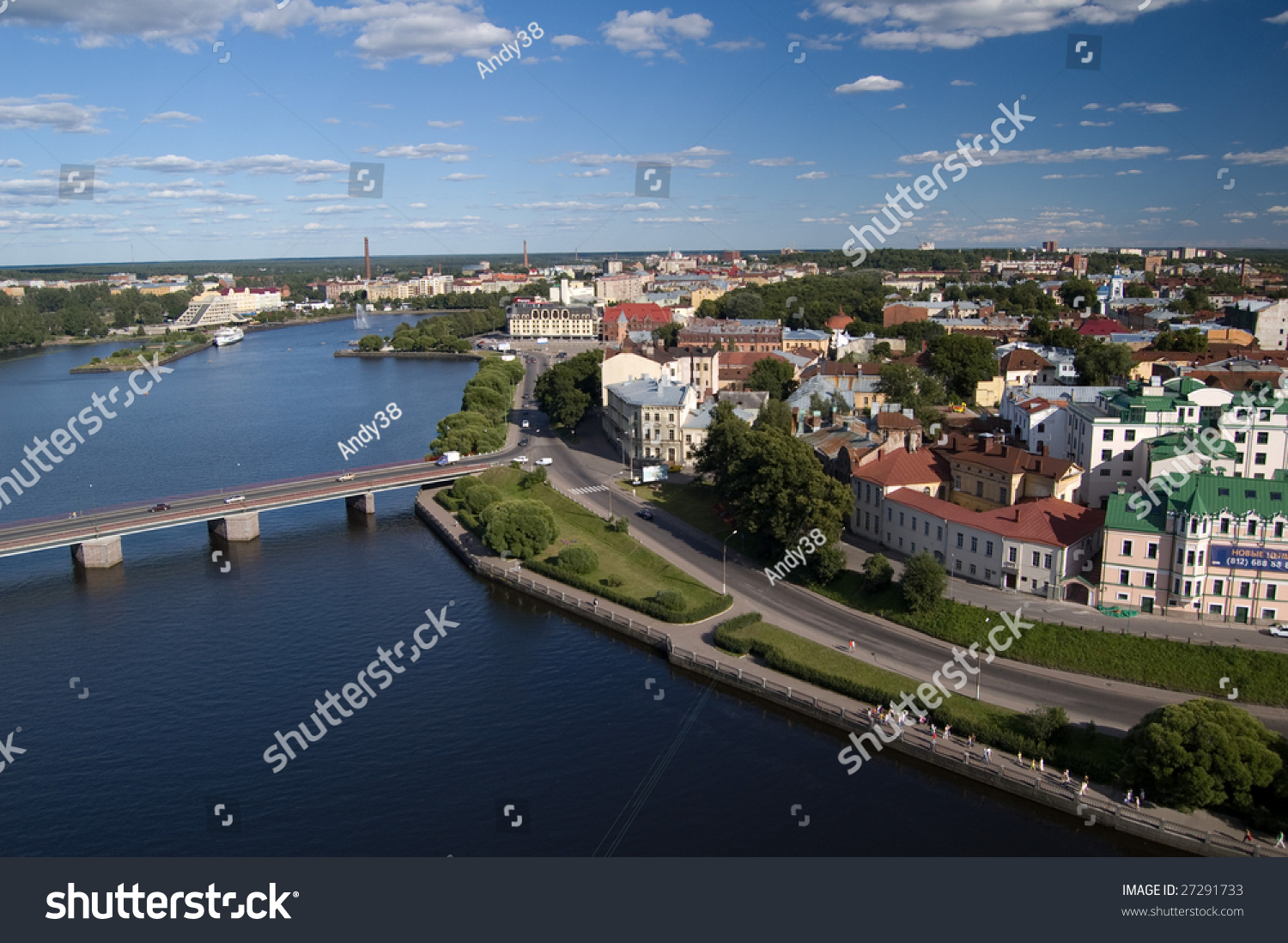 panoramic cityscape of the Vyborg town #27291733