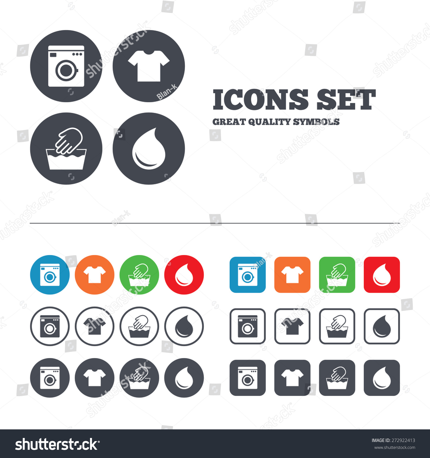 Clothes Wash Signs: Wash Machine Icon Hand Wash Tshirt Stock Vector 272922413