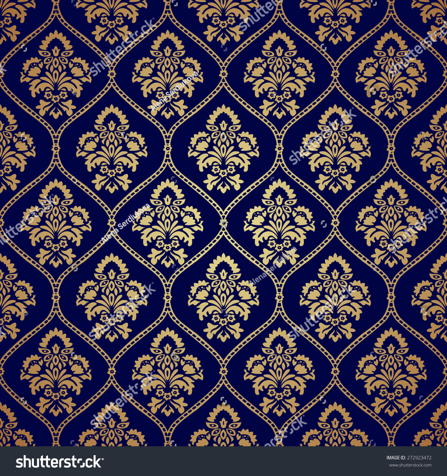 Luxury Style Gold Blue Background Seamless Stock Vector