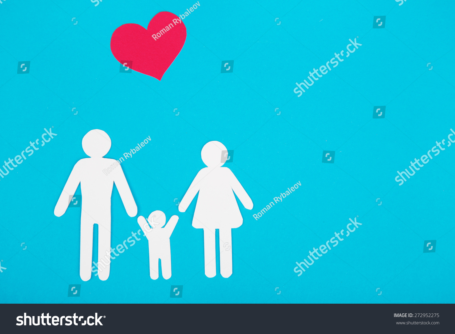 Cardboard Figures Family On Blue Background Stock Photo Edit Now