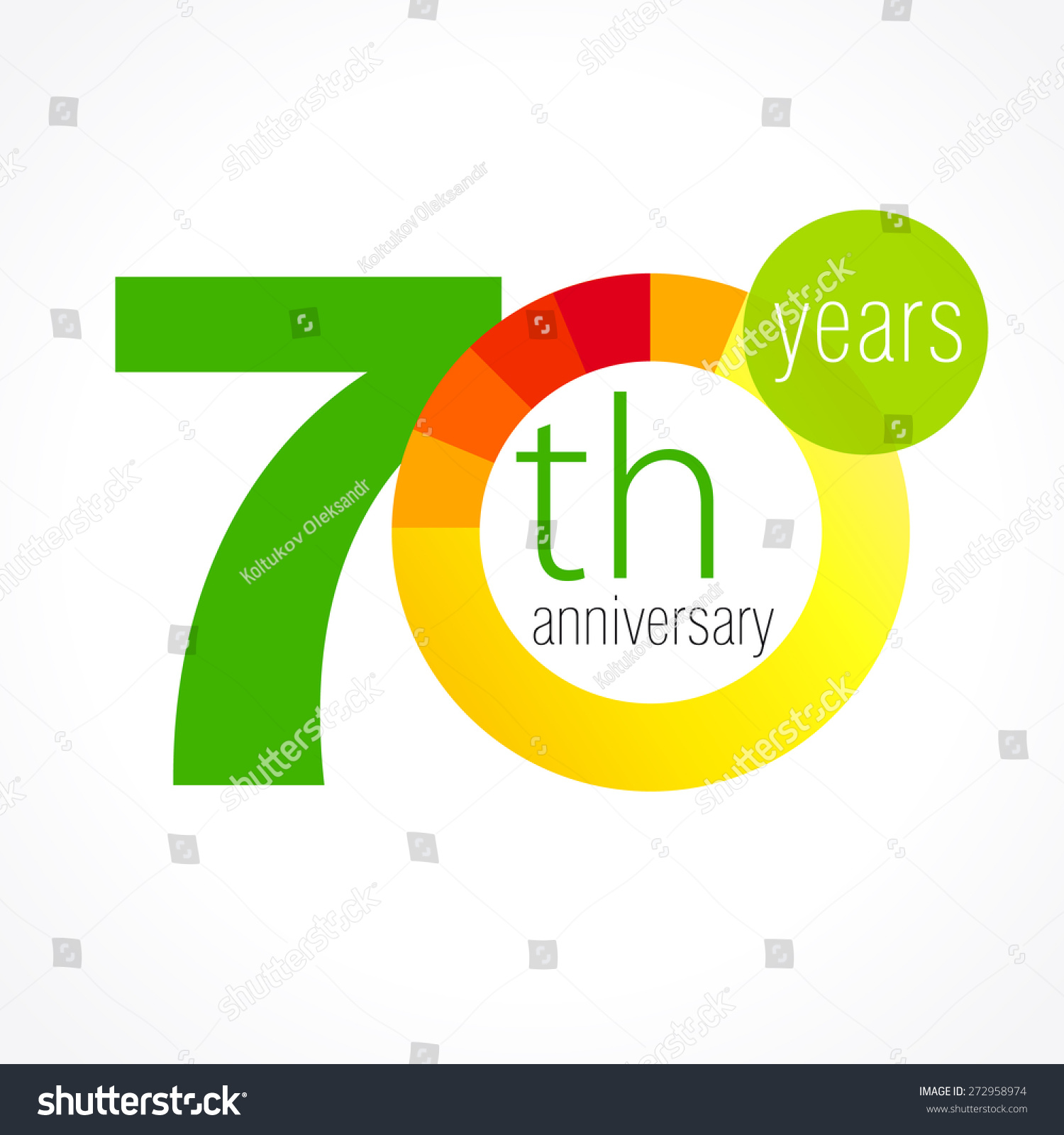 70 Years Old Round Logo Anniversary Stock Vector Royalty Free