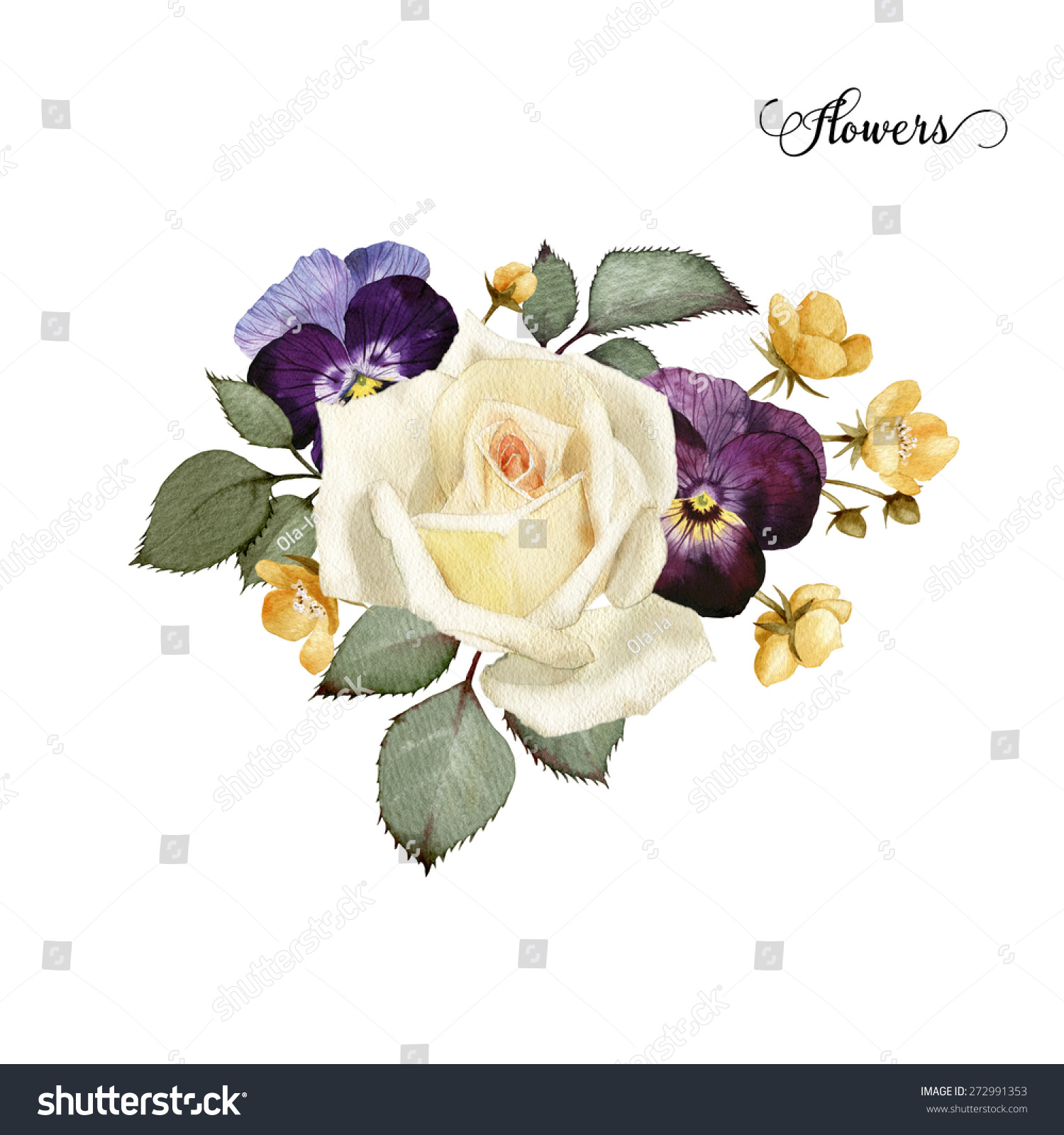 Bouquet of roses watercolor can be used as greeting card invitation card for wedding birthday and other holiday and summer background