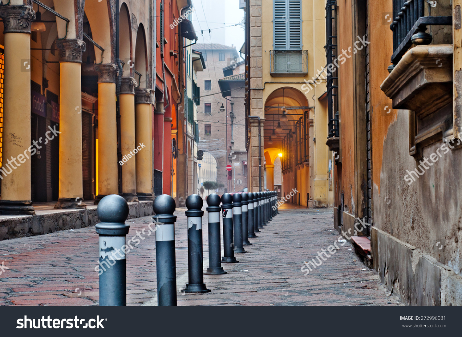 Old Street View Bologna City Italy Cobble Stone Street With Bollards