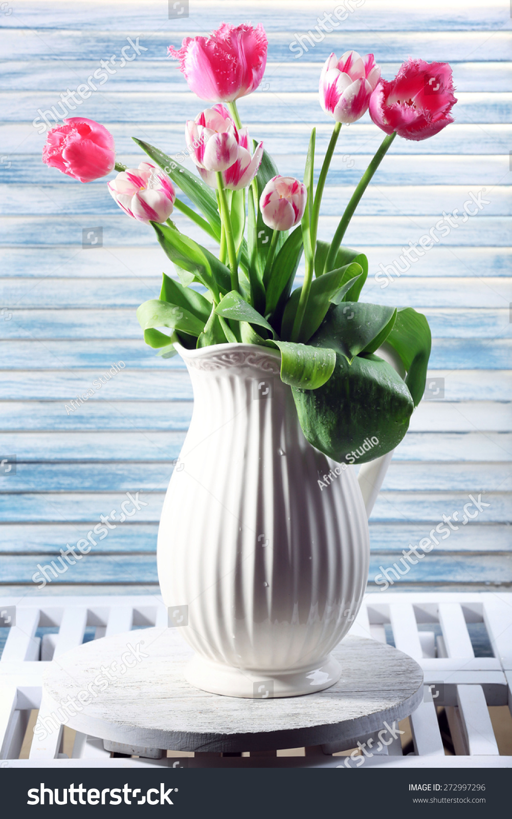 Different beautiful flowers vases on wooden stock photo 272997296 different beautiful flowers in vases on wooden background izmirmasajfo