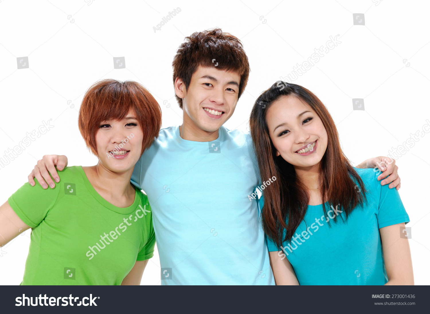 Three Young Happy Friends Two Girls Stock Photo 273001436