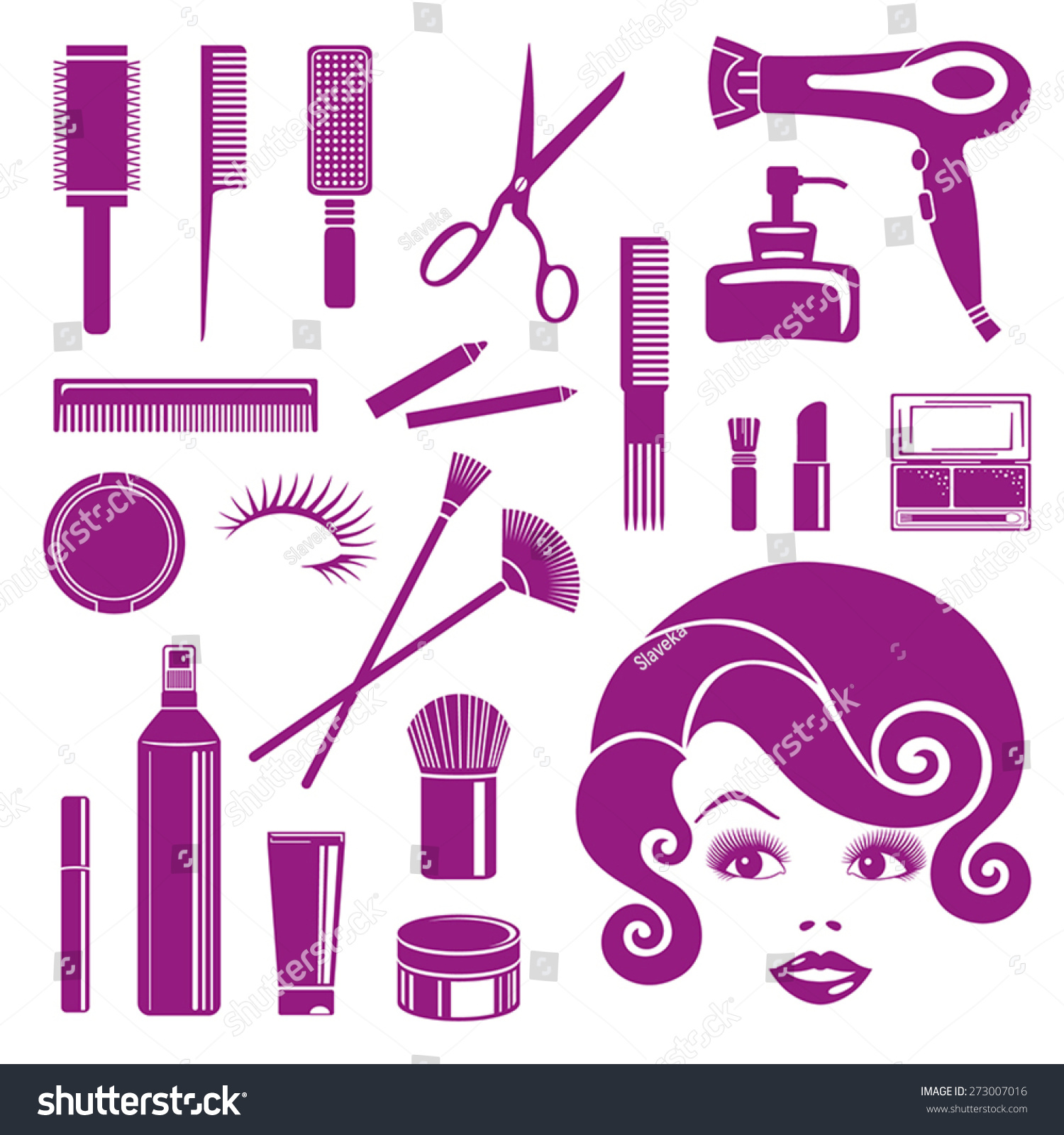 Icons Symbols Hair Salon Beauty Salon Stock Vector Royalty Free