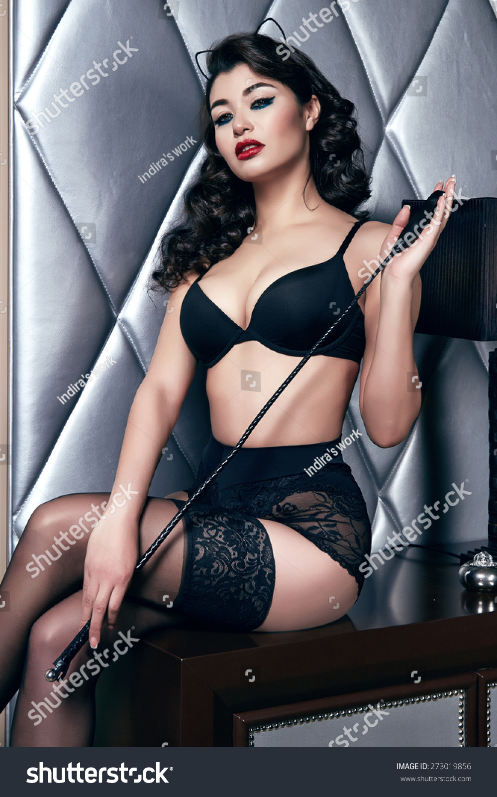 Beautiful Sexy Tanned Brunette Woman Black Stock Photo