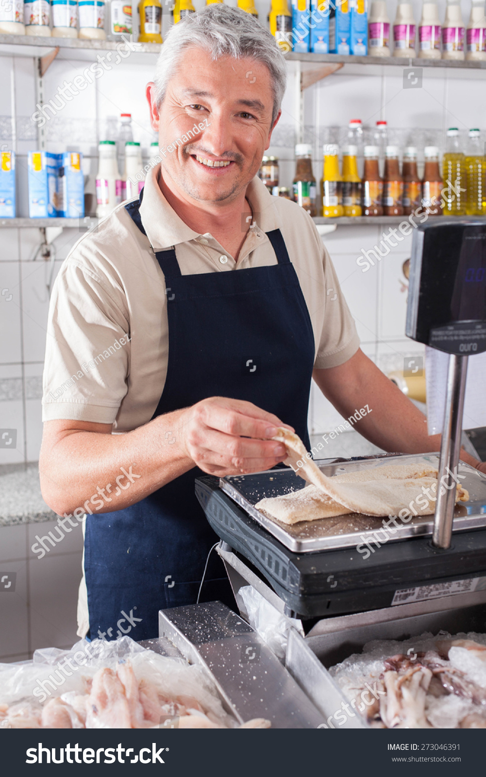 Man weighing piece fish stock photo 273046391 shutterstock for Piece of fish