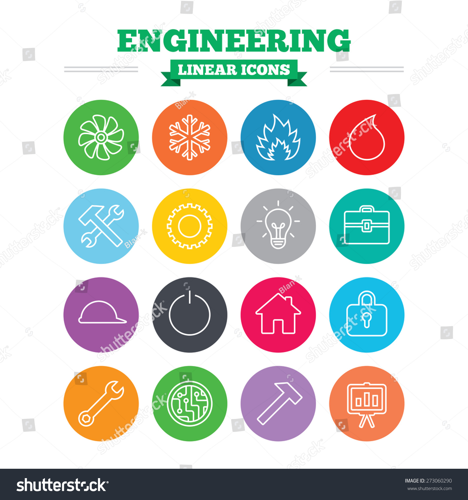 engineering linear icons set ventilation heat stock vector