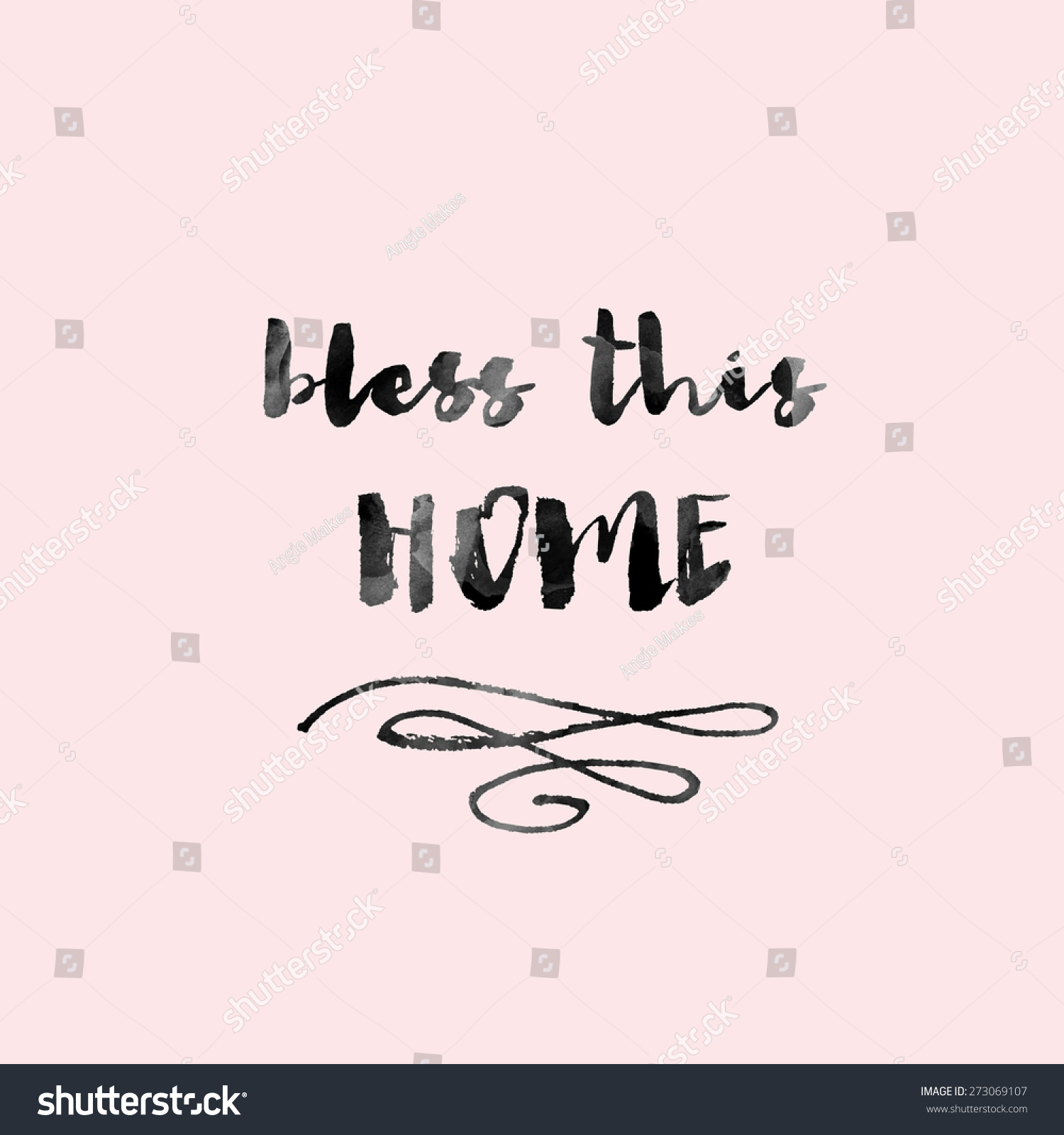 Bless This Home Modern Calligraphy Wall Stock Illustration