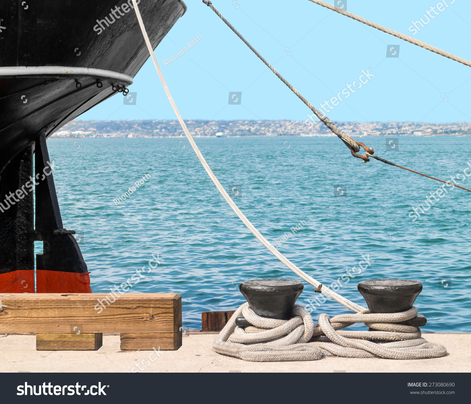 Large ship docked rusty boat anchor stock photo 273080690 for Heavy rope for nautical use