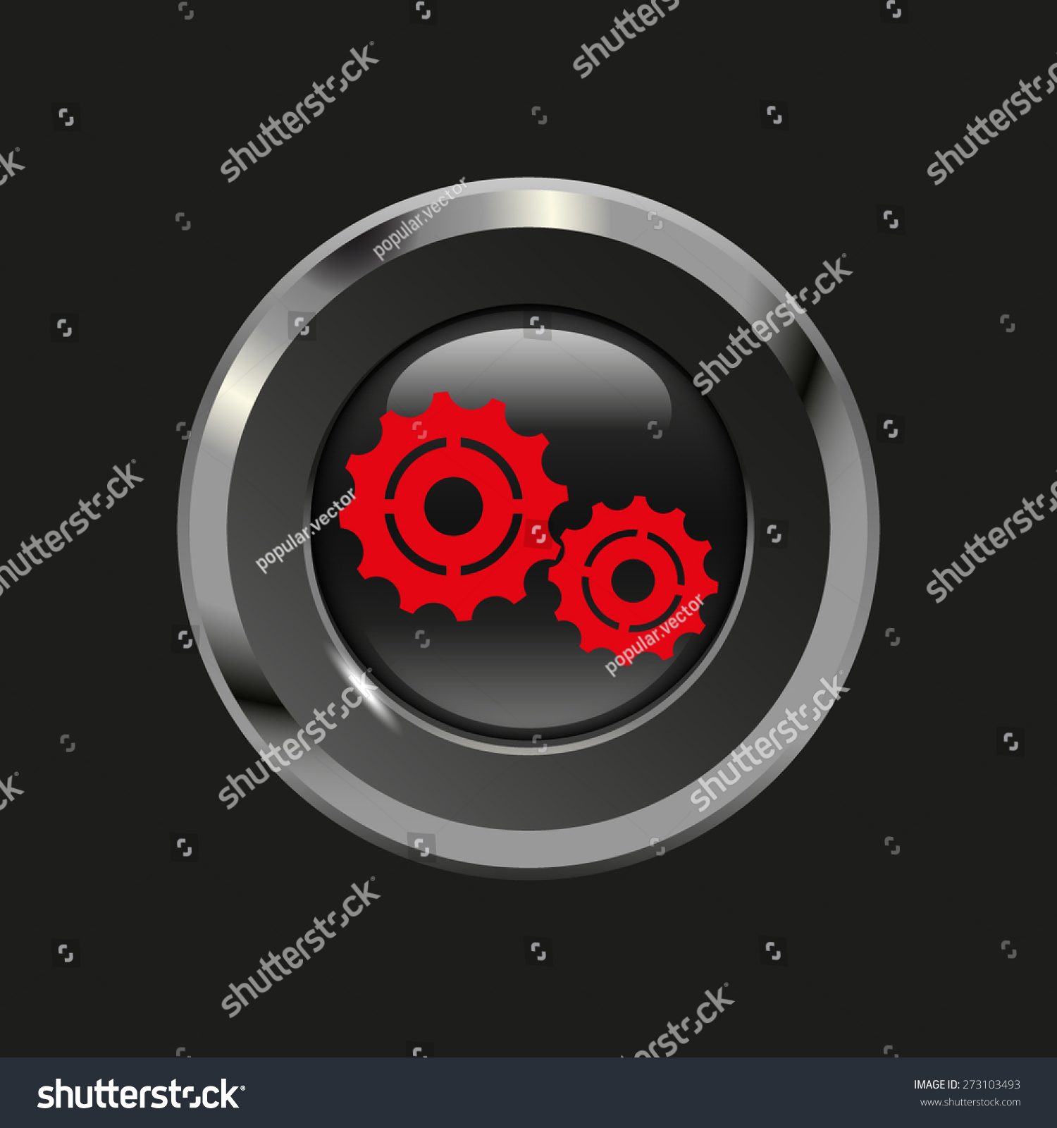 Black Glossy Button Metallic Elements Red Stock Vector Royalty Free 273103493