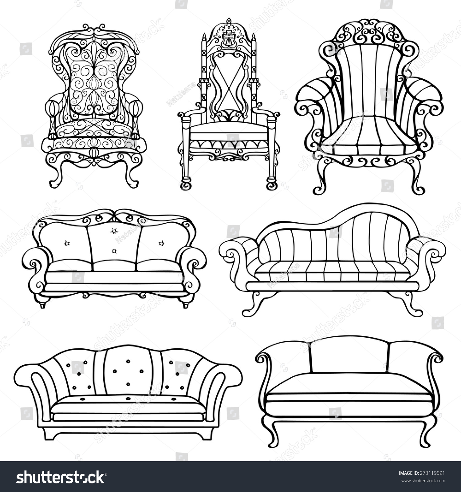 Furniture Chair Armchair Throne Sofa Couch Stock Vector Royalty