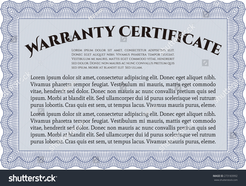 blue warranty certificate template - Warranty Certificate Template