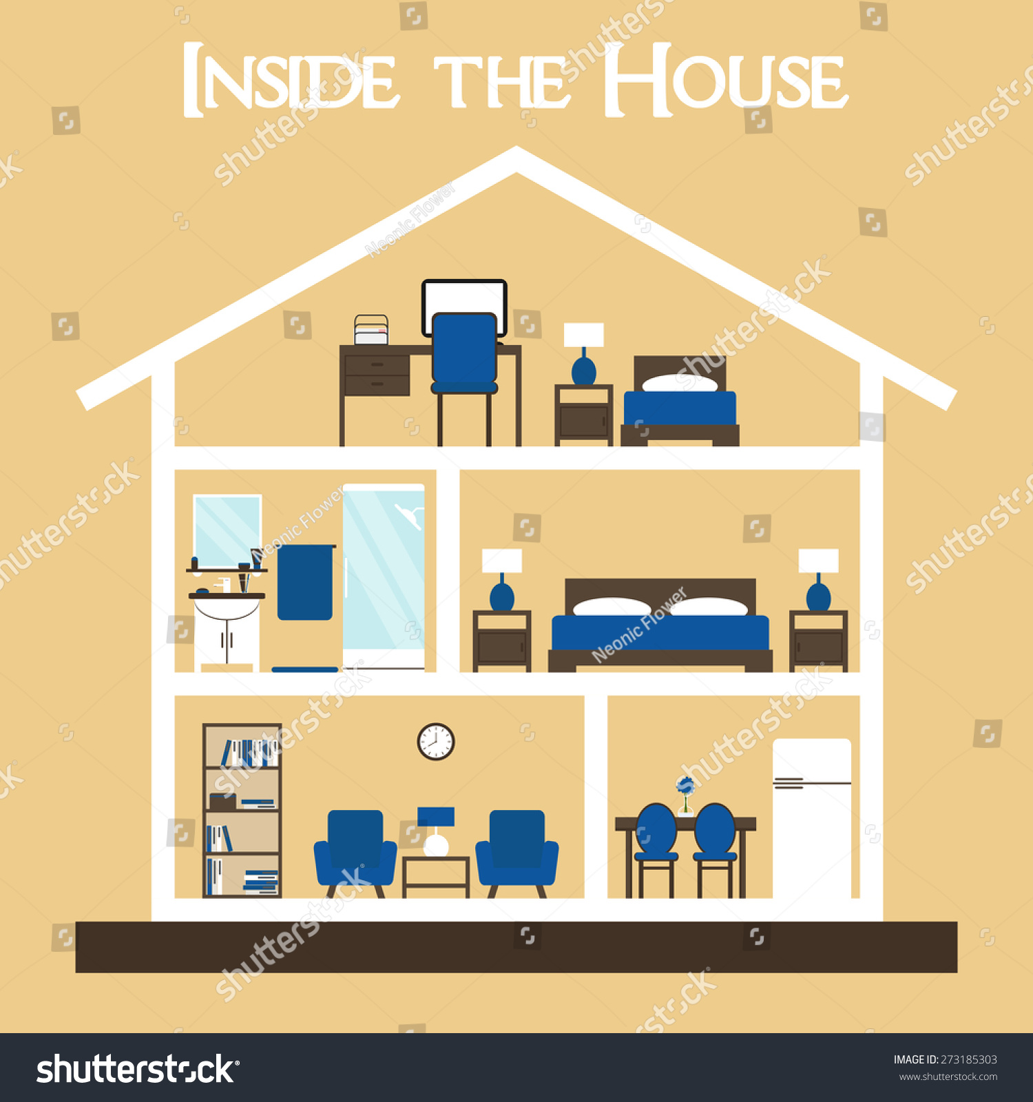 House interior inside house cute dollhouse stock vector Plan my house