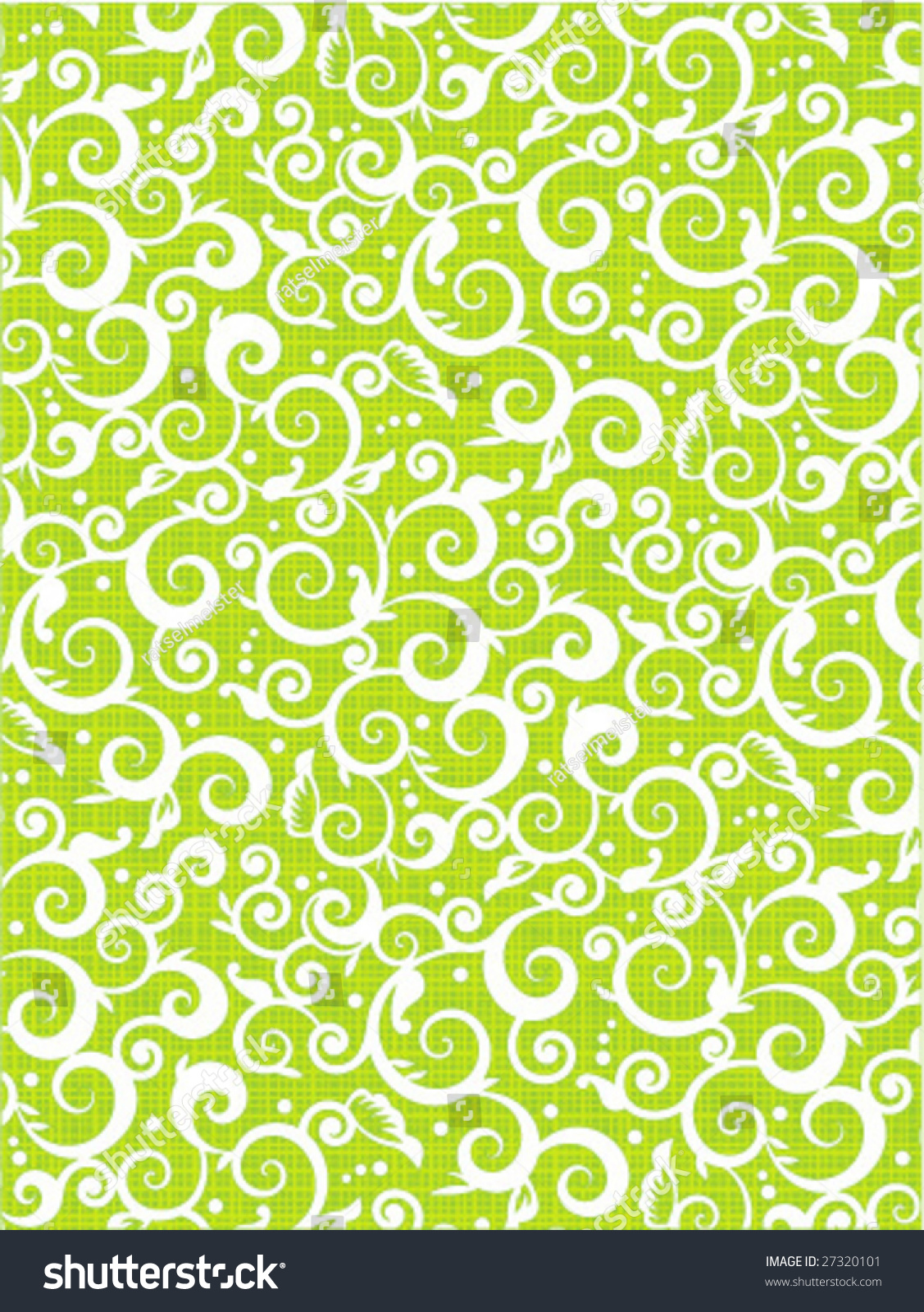 Green and white floral pattern - photo#27