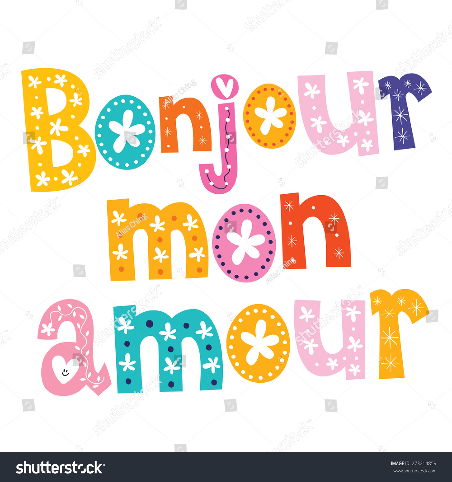 bonjour mon amour stock vector 273214859 shutterstock. Black Bedroom Furniture Sets. Home Design Ideas