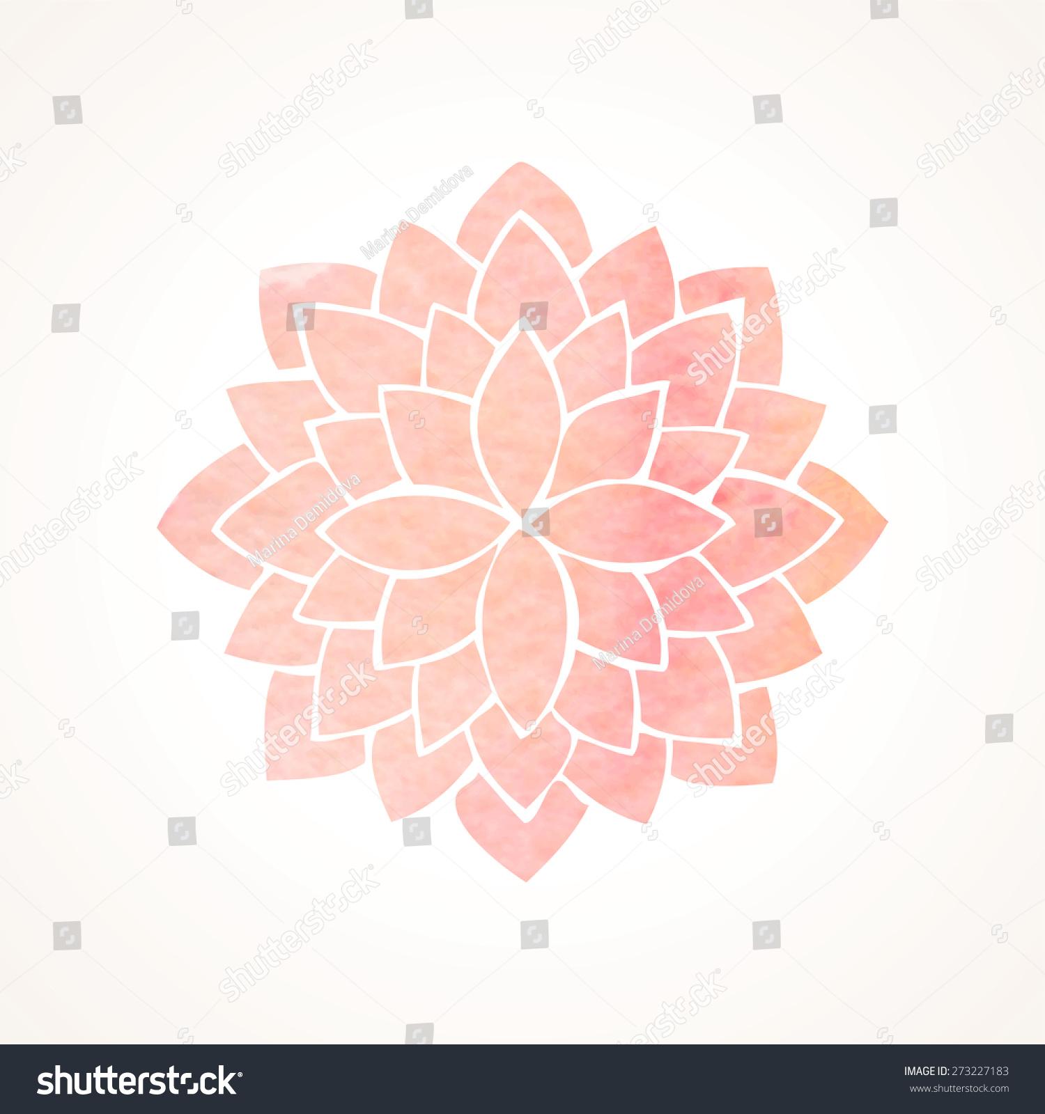 Watercolor Pink Lotus Flower Mandala Indian Stock Vector Royalty