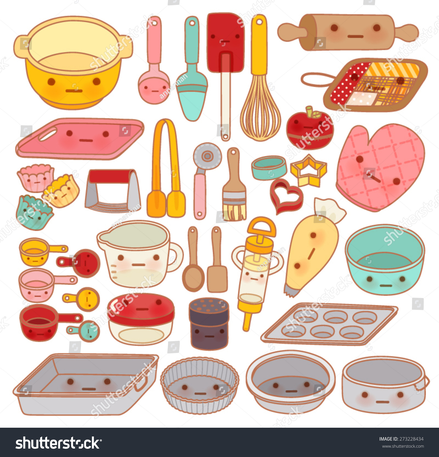 Collection Lovely Pastry Tool Equipment Cute Stock Vector
