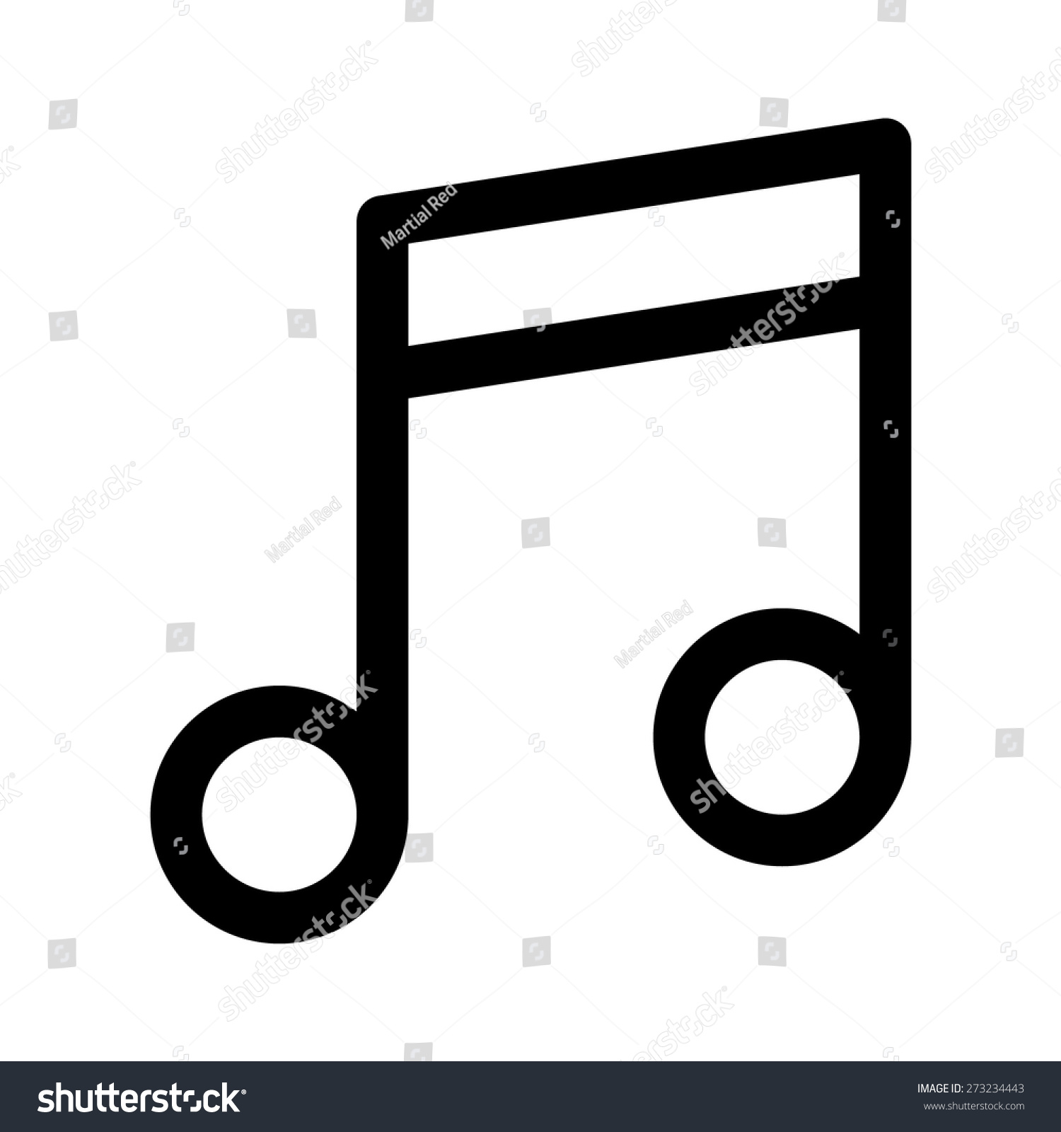 Musical Note Eight Music Note Line Stock Vector Royalty Free