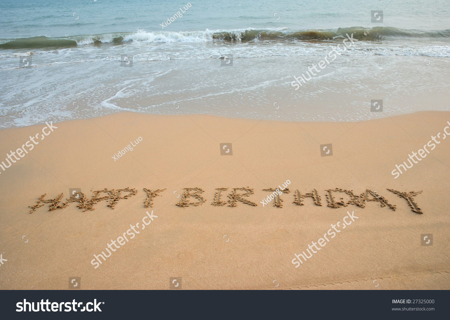 Happy Birthday Written In The Beach 27325000