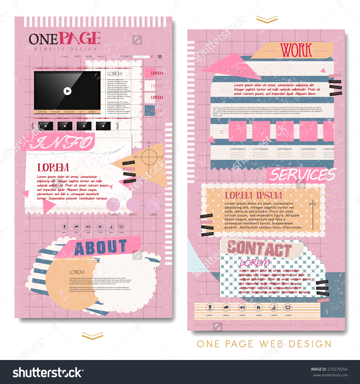 Stock Vector Cute One Page Website Template Design