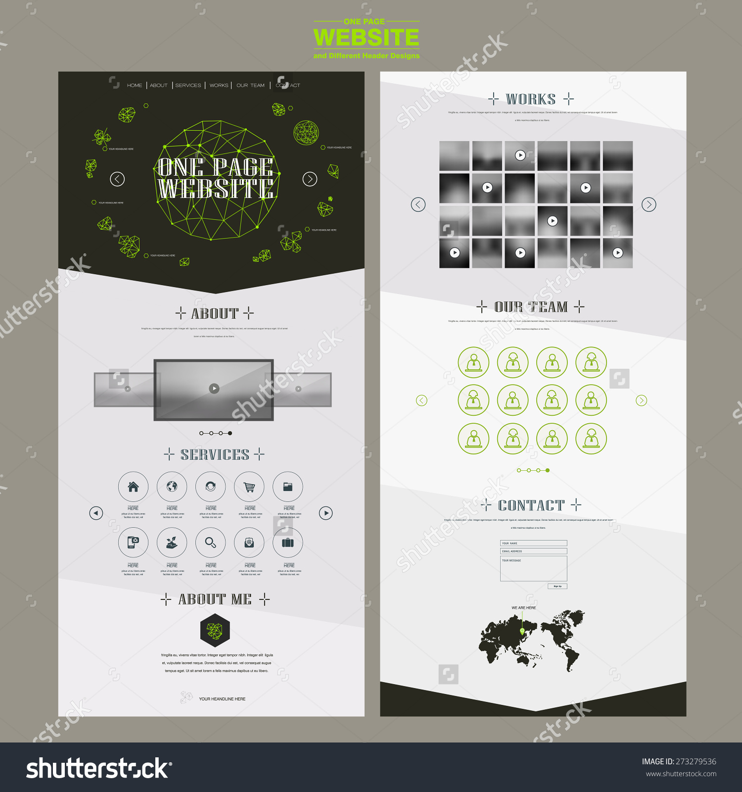 Edgy One Page Website Template Design With Fluorescent Line ...