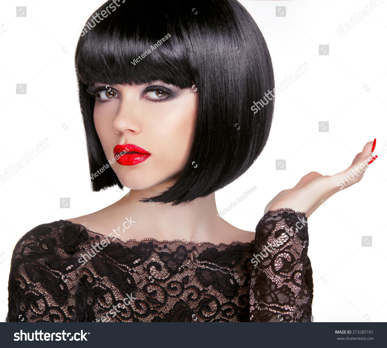 Astounding Bob Hairstyle Brunette Fashion Model With Black Short Hair And Short Hairstyles Gunalazisus