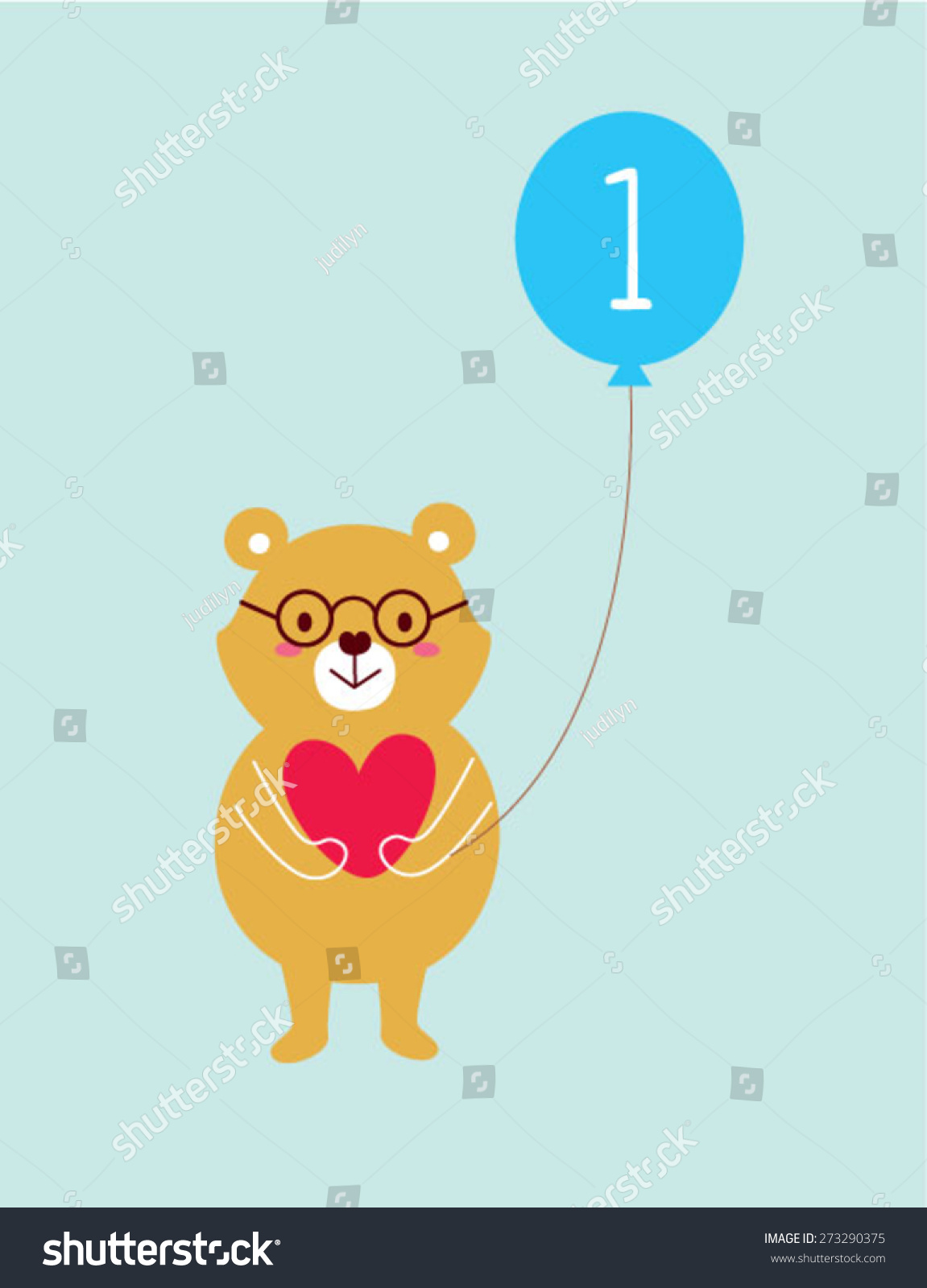 Teddy bear 1st birthday greeting card stock vector 273290375 teddy bear 1st birthday greeting card kristyandbryce Image collections