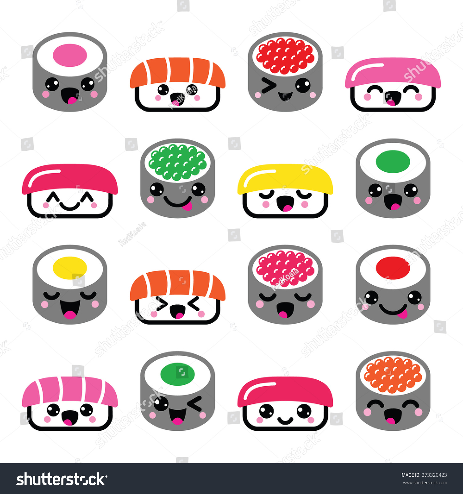 Cute Kawaii sushi , Japanese food vector icons set