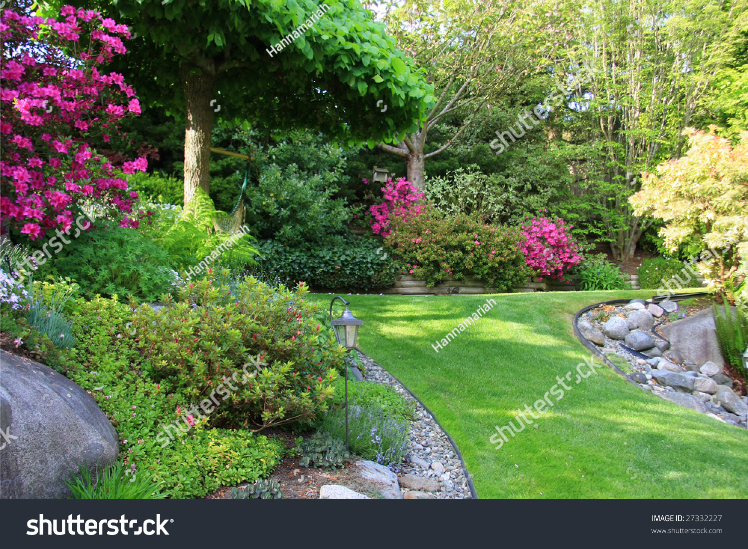 Beautiful park garden in spring stock photo 27332227 for Garden outlay ideas