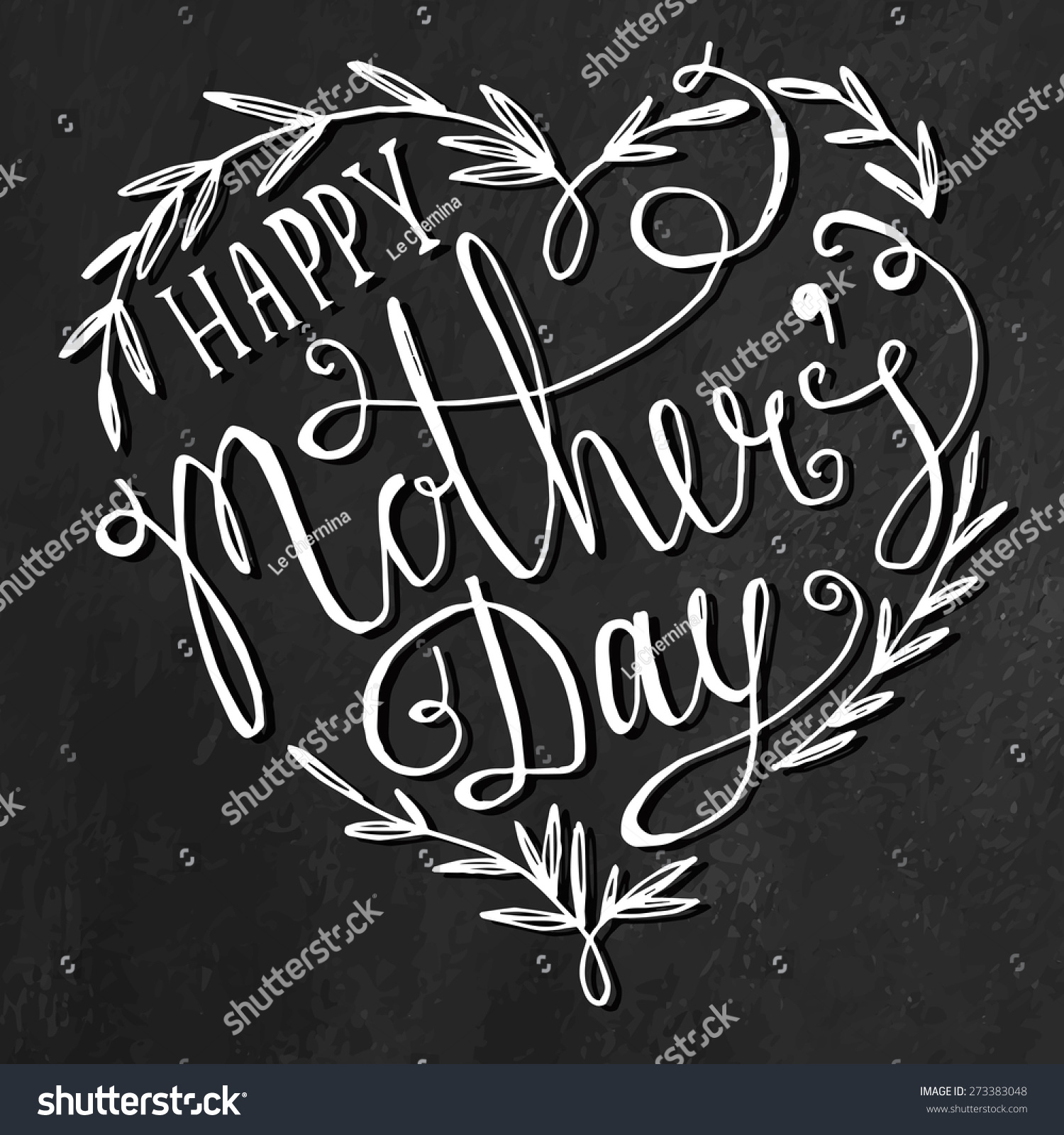 Happy Mothers Day Chalkboard Greeting Calligraphy Stock