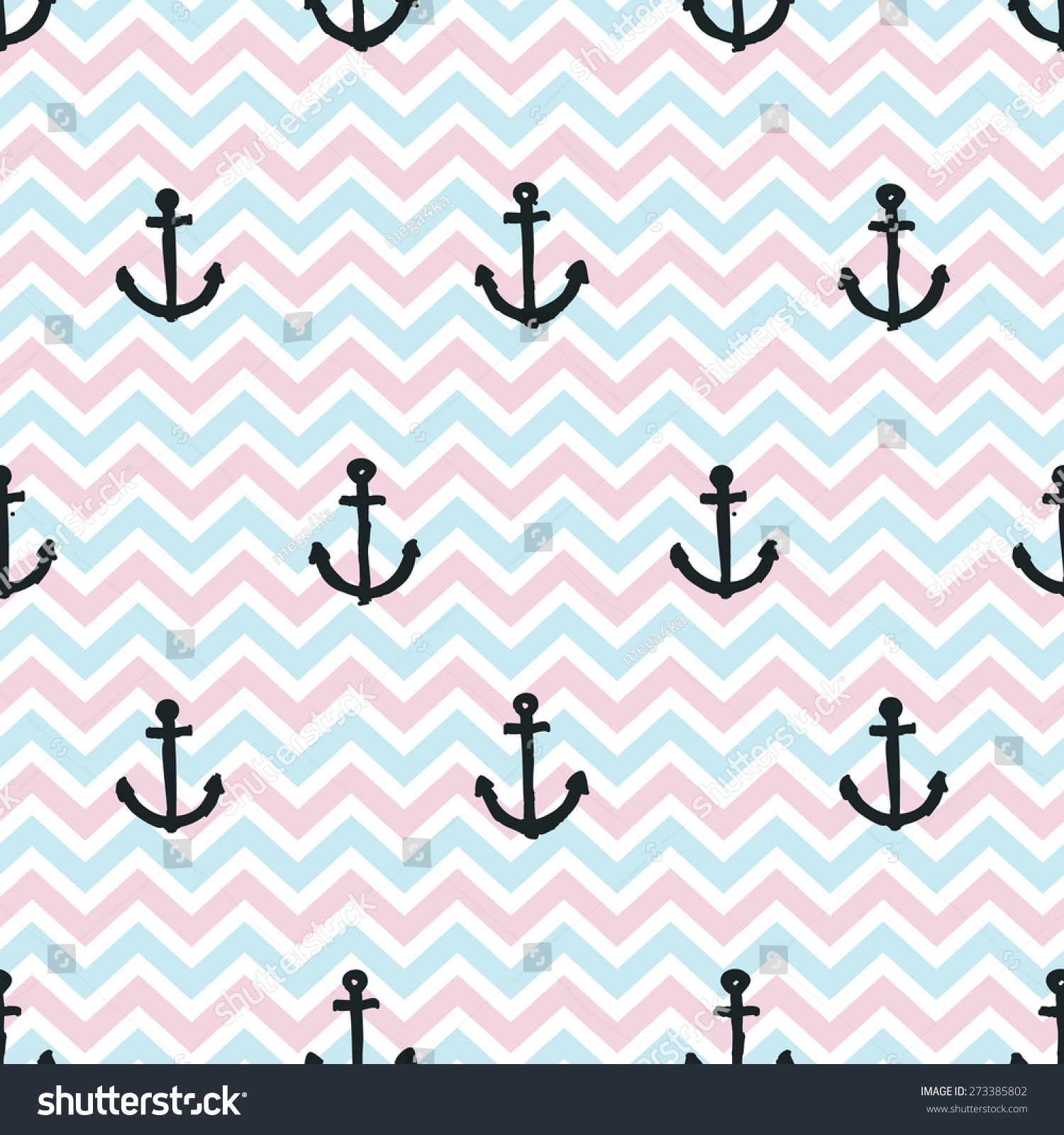 hand drawn anchors on blue pink stock vector 273385802