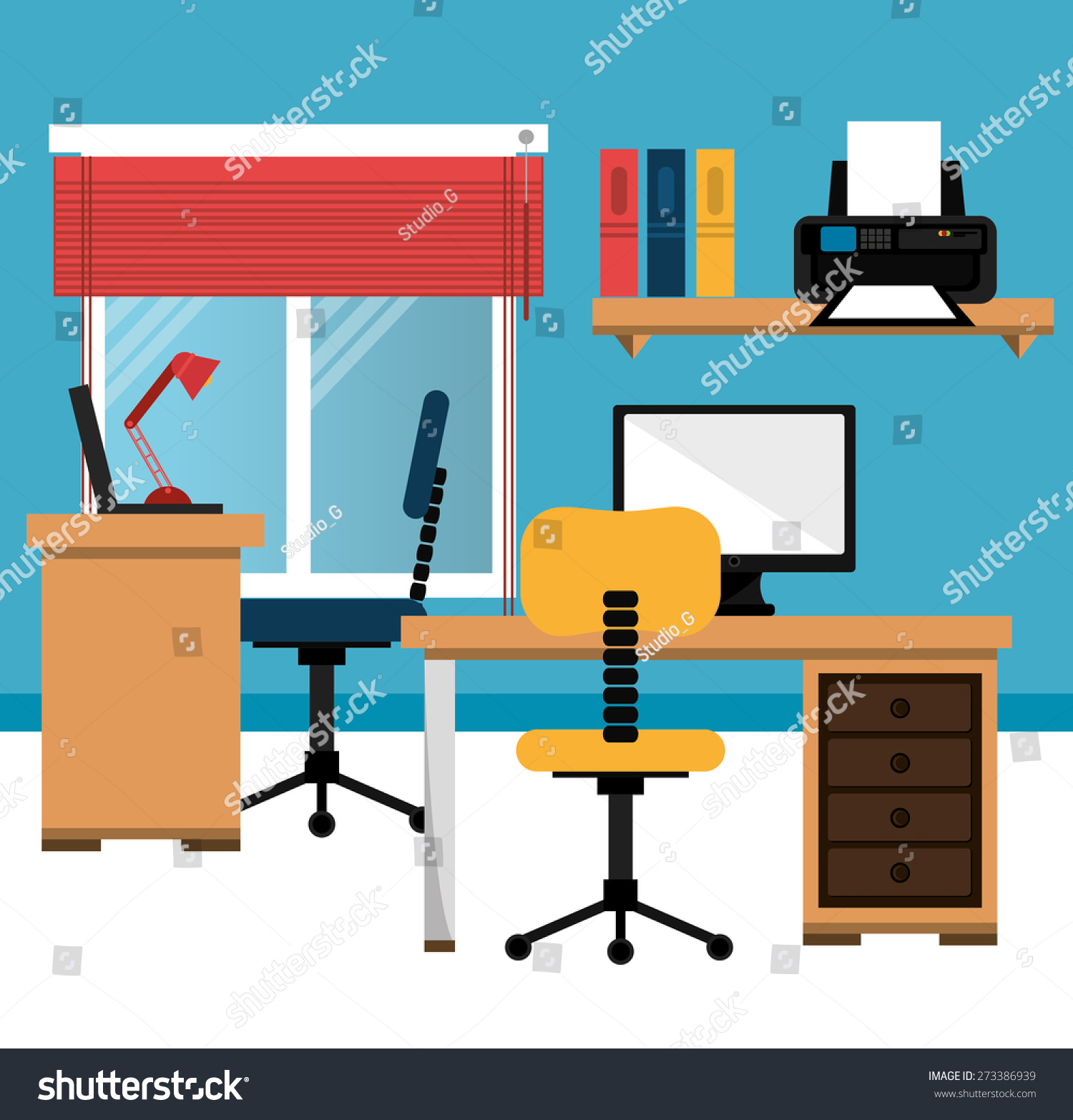 Office design over blue background vector stock vector for Office design blue