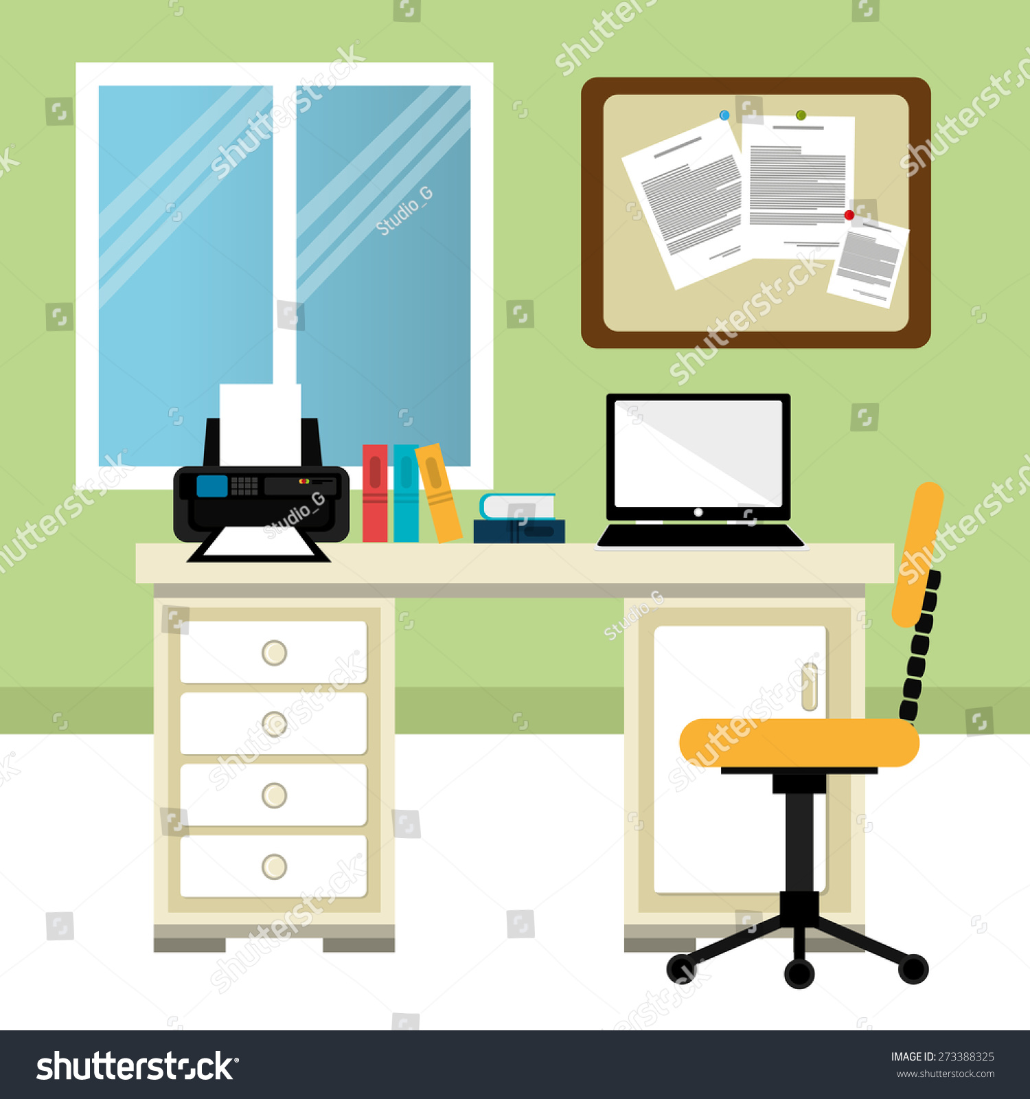 Office design over green background vector stock vector for Office design vector