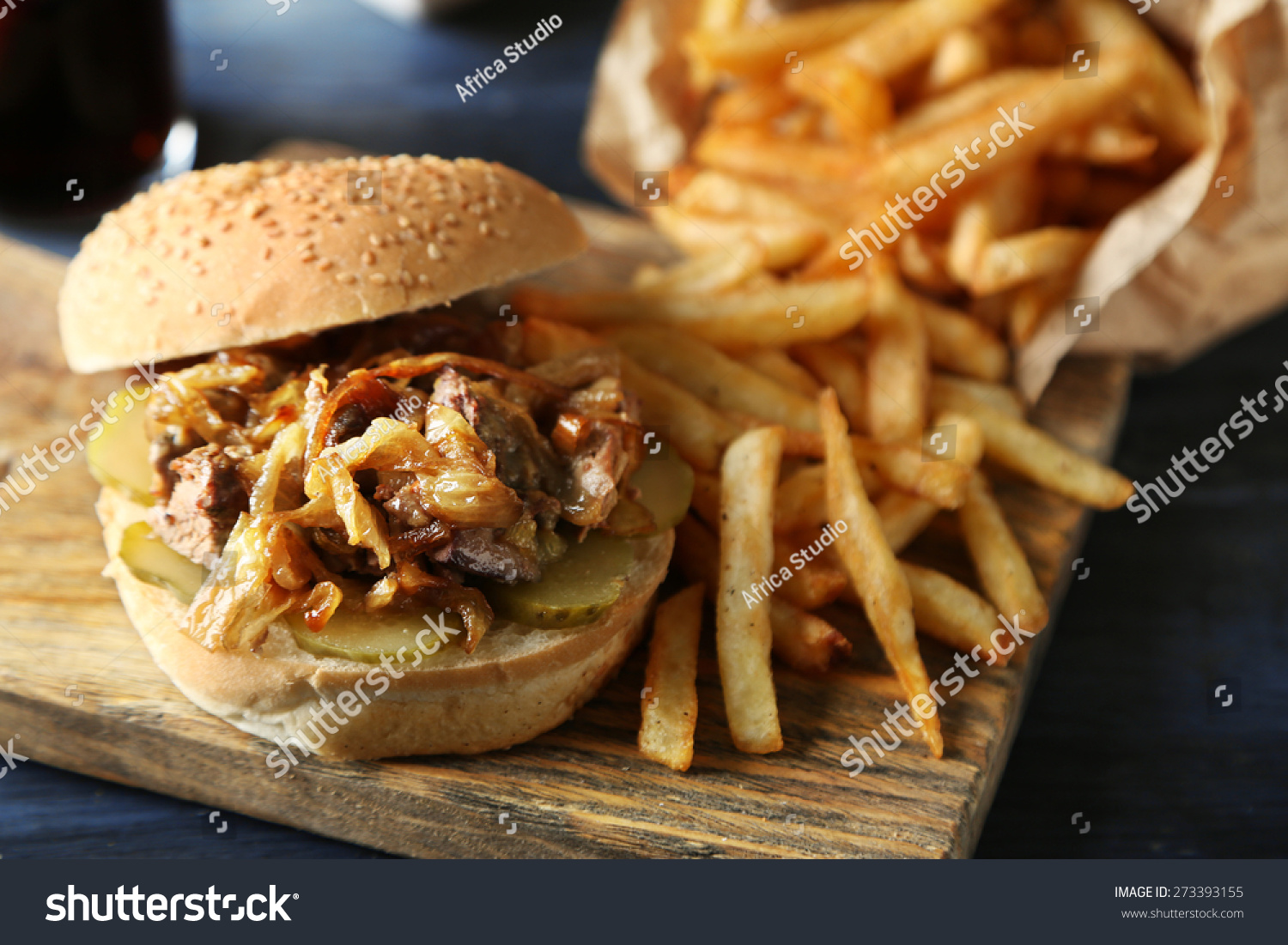 Unhealthy Food Plate Tasty Burger French Fr...