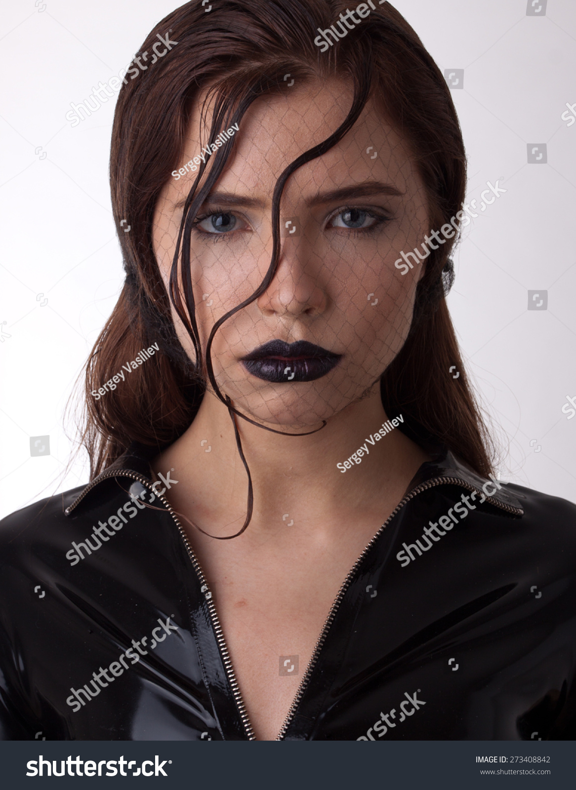 Photo Beautiful Young Woman Latex Magnificent Stock Photo