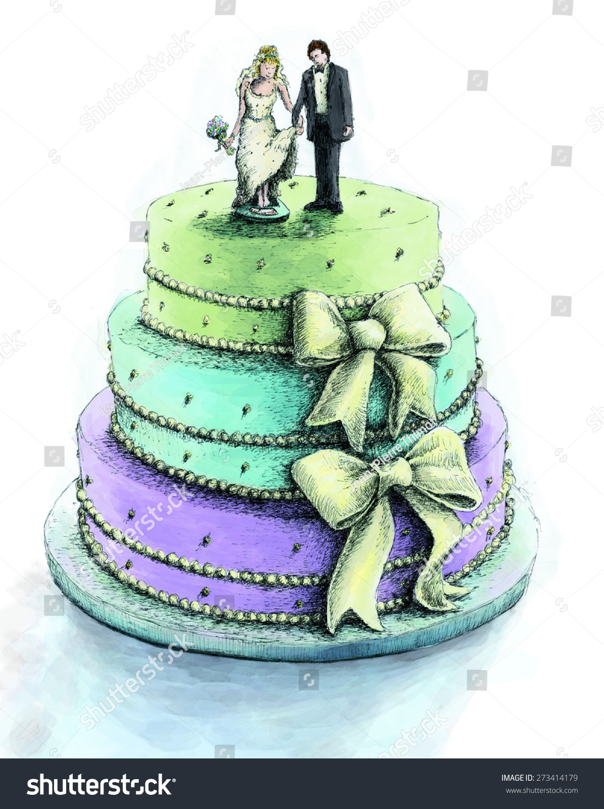 Fancy 3 Tiered Wedding Cake Bows Stock Illustration