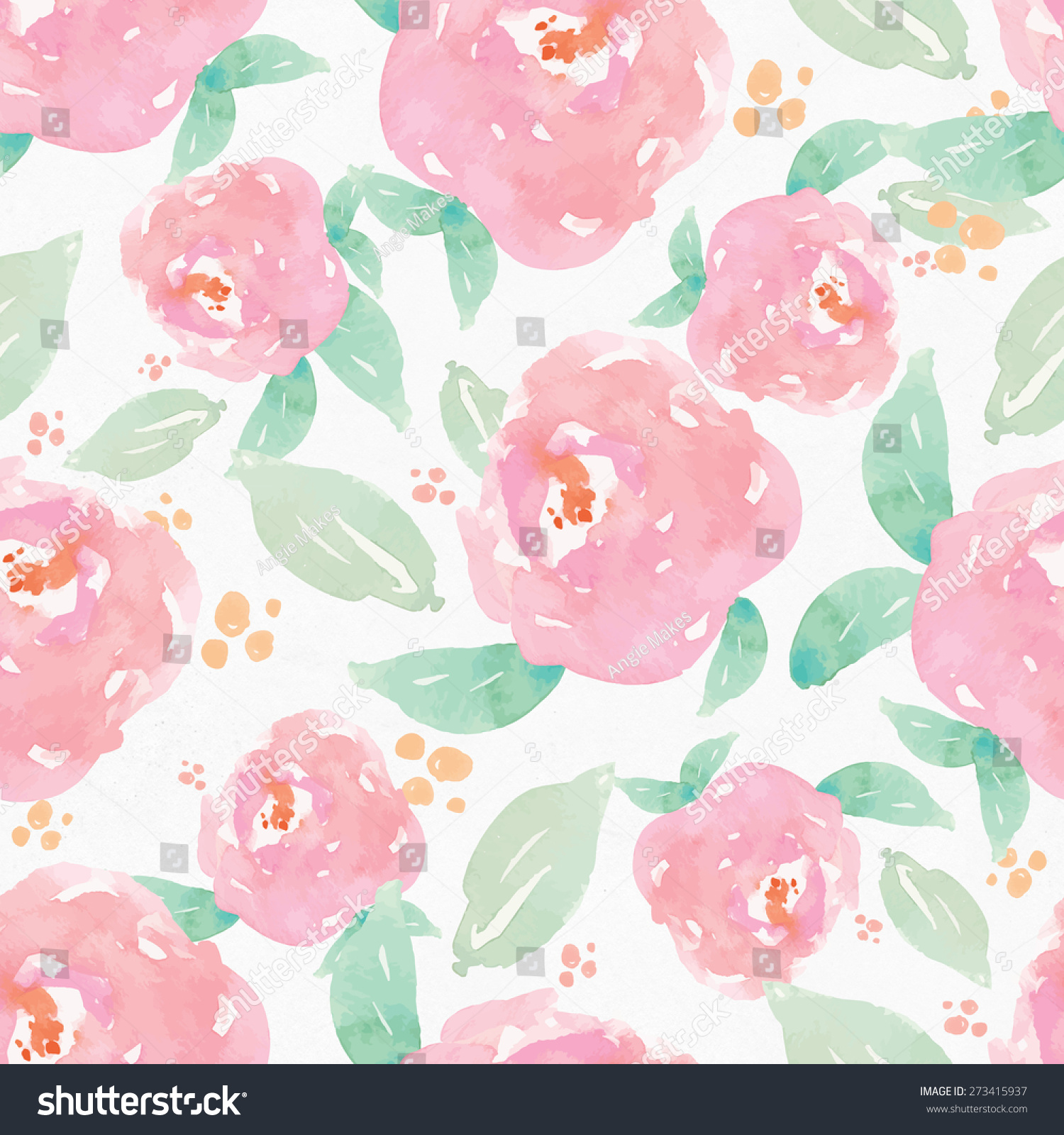 Seamless Girly Pink Repeating Watercolor Floral Stock Illustration
