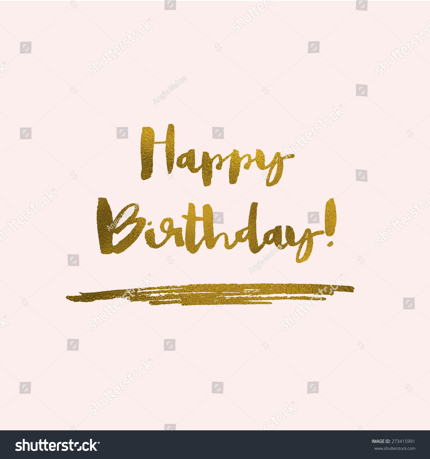Pink gold happy birthday calligraphy text stock