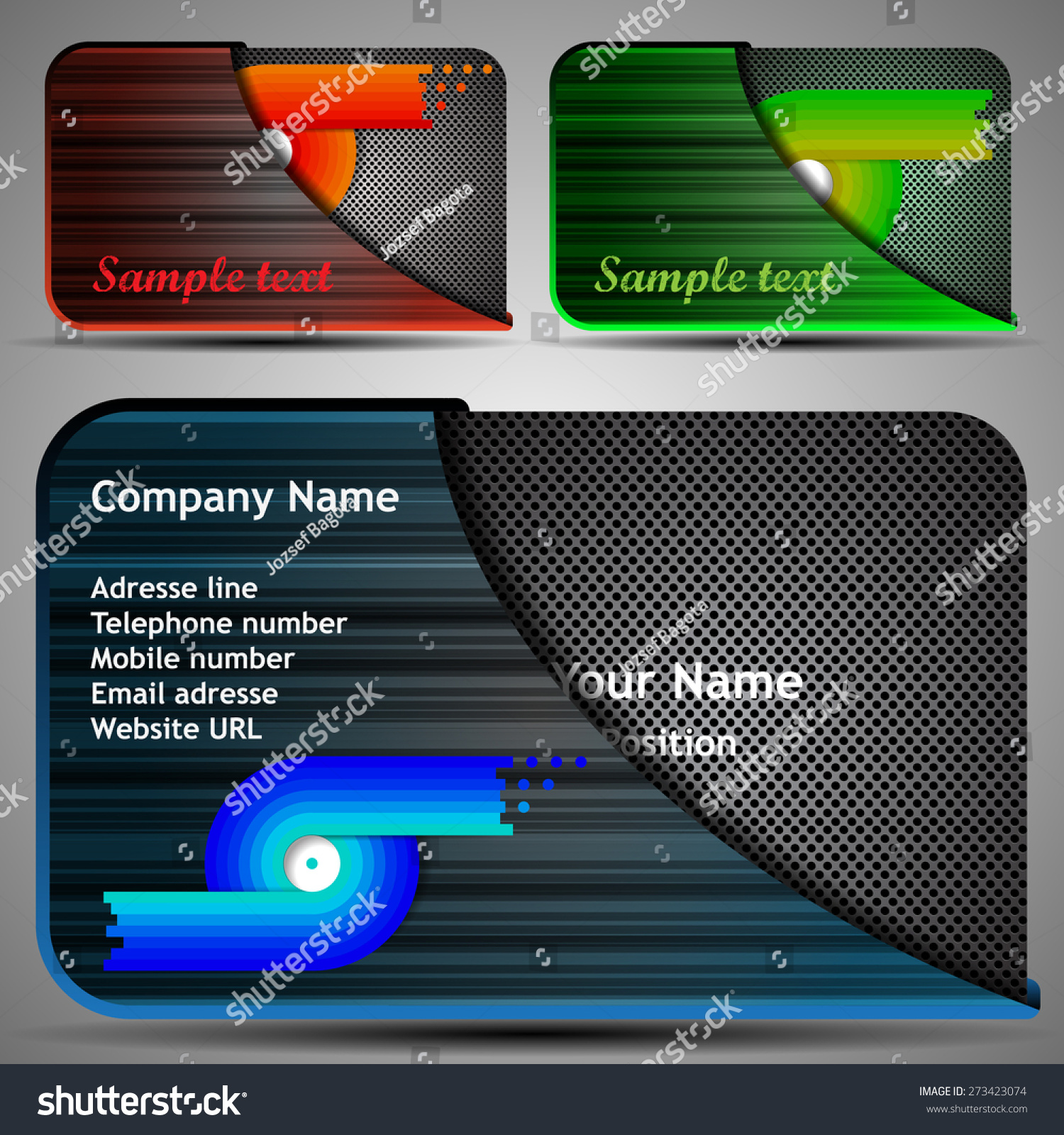colorful futuristic business card template layout stock vector