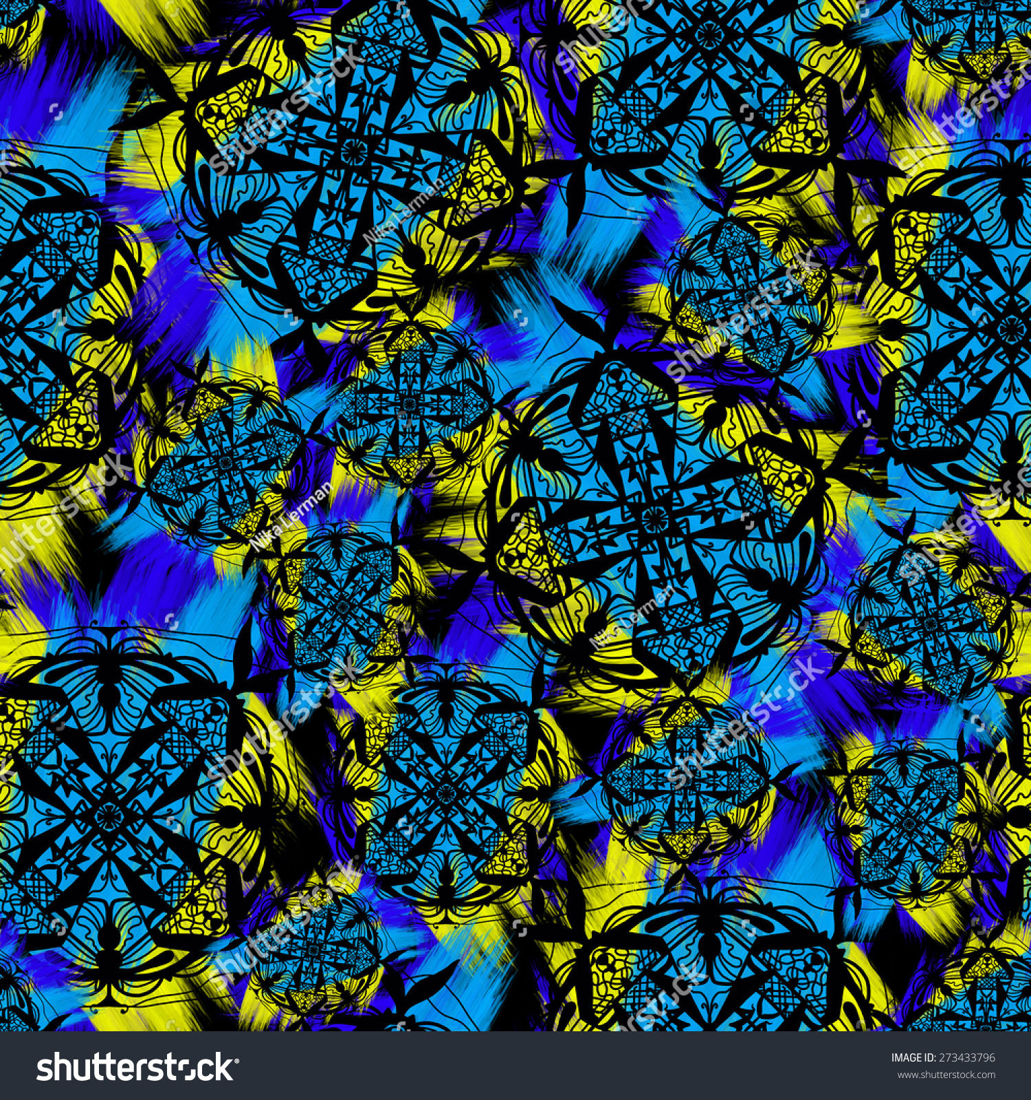 Seamless Bright Colorful Pattern Yellow Blue Stock ...